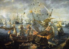 The Battle of Gibraltar by Cornelis Claesz van Wieringen. Oil on canvas. Rijksmuseum, Amsterdam.